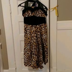 High waisted animal print halter dress - new